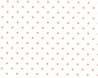 Essential Dots Tangerine on White - Moda 8654 67 - BTY One Yard Cut - Orange Swiss Dots on White Fabric - Polka Dot Fabric