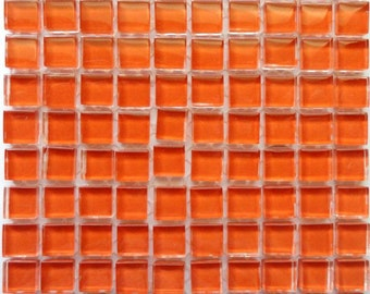100 (10mm) Orange MINI Crystal Glass Mosaic Tiles 3/8 in.//MosaicPieces// Mosaic Supplies//Crafts