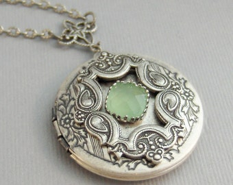 Antebellum Peridot,Peridot Locket,Locket,Silver Locket,Green Locket,August Birthstone,Birthstone Locket,Green Locket, valleygirldesigns.