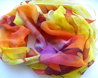 Bright Flames. Hand painted scarf. Yellow, tangerine, purple original silk chiffon scarf, that carries light and good energy. Wearable art
