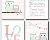Baby Girl Nursery Art Mint Coral Owl Wall Art Kids Wall Art Girls Room You are My Sunshine Love Owl Theme Nursery Set of 4, Art Prints