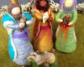 Needle Felted Standing Wise Men, Three Kings, Nativity Set, Waldorf Inspired, Christmas, Nature Table, Design by Borbala Arvai MADE TO ORDER