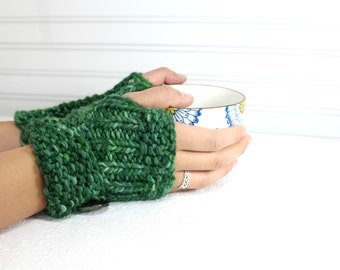 Green Merino Wool Fingerless Mittens, Knit Wool Arm Warmers, Chunky Knit Fingerless Mitten, Button Cuff Fingerless Mittens, Back to School