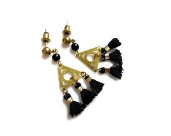 Tassel Statement  Earrings, Black Tassel Fringe Earrings, Tassel Jewelry
