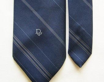 Vintage Christian Dior Necktie in Dark Blue w/ Fine Diagonal Light Blue, Tan & White Pinstripe - Monogram Tie