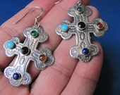 RESERVED FOR GABYVintage 1940s sterling Zuni cross pierced earring with 5 gemstones RARE beautiful