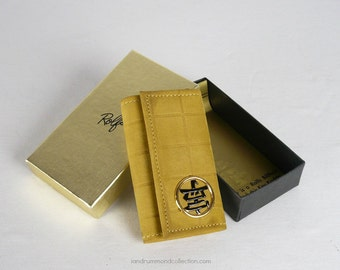 Vintage 1970s Key Case, NOS, Rolf's, in Gold Suede Cowhide Leather with Asian Character Medallion, Original Box - has matching wallet!