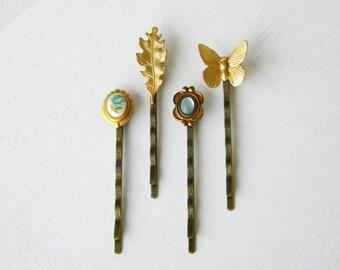 Blue autumn gift set - hair pins