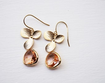 Peach champagne and gold flower earrings -