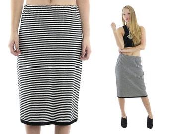 Vintage 80s Knit Skirt Black White Striped Pencil Skirt Midi Skirt High Waisted Skirt 1980s Medium M Large L Fall Fashion