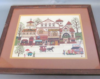 Vintage Country Style Cross Stitch Framed Picture of Horse and Carriage and Businesses