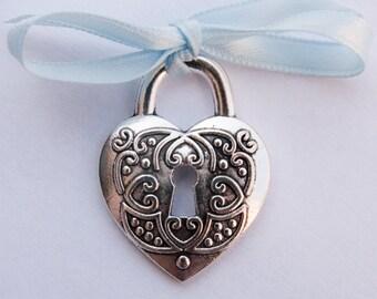 Heart Bridal Charm, Something Blue, Wedding Bouquet Accessory, Wedding Keepsake