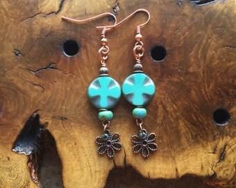 Turquoise blue earrings, medieval cross earrings, antiqued copper, picasso czech glass, dangle earrings, cross earrings, bohemian jewelry