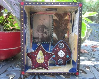 Mixed media assemblage, found object art, frankenjunk, ooak collage