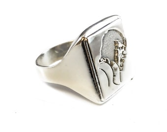 Elvis on tour Ring Solid Sterling Silver 925 Portrait singing on stage 1972