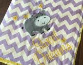 Hippo Baby Blanket- Minky Baby Blanket- Chevron Minky Blanket- Hippp Applique Baby Blanket- Custom Blanket-