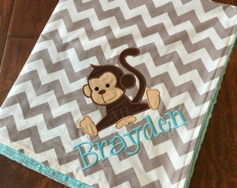 Personalized Baby Blanket 30x35- Minky Baby Blanket- Chevron Minky Blanket- Applique Baby Blanket- Monkey Blanket