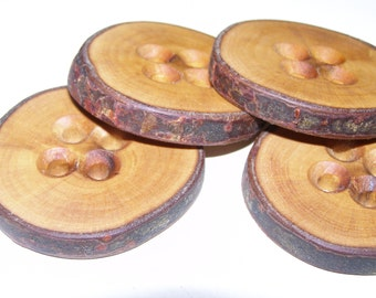 """4 Handmade apple wood Tree Branch Buttons with Bark, accessories (1,97"""" diameter x 0,31"""" thick)"""