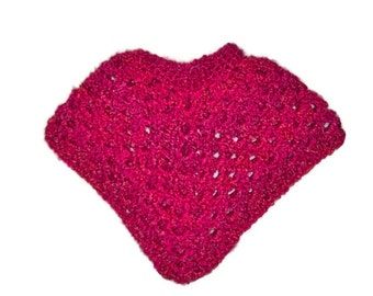 Toddler Girl's Poncho Size 1 Year , Fuchsia With A Touch Of  Light Orange Blended In