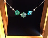 Nerdy Green Dice and Pearls Silver Necklace