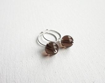 Small hoop earrings smoky quartz earrings silver hoop earrings brown stone earrings