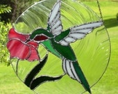 Hummingbird-Ruby Throat Stained Glass Panel