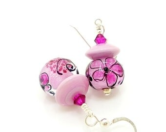 Pink Earrings, Pink Flower Earrings, Lampwork Earrings, Glass Earrings, Glass Bead Earrings, Beadwork Earrings, Glass Beads Jewelry
