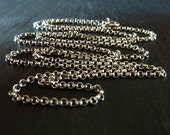 24 Inch Sterling Silver Chain, Oxidized Rolo Necklace 2.1 mm, 60 cm Finished Chain for Necklaces