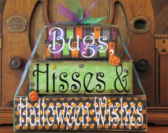 Halloween Decor, Halloween Sign, Fall Decor, Fall Sign - Bugs, Hisses and Halloween Wishes, Halloween Word Blocks Sign