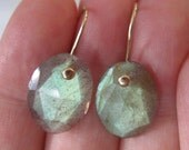 Green Rose Cut Labradorite Solid 14k Gold Earrings