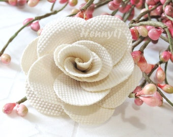 "Savannah Collection: 3 pcs IVORY - 2"" Fabric Textured Rose Bud Burlap Linen Flowers. Hair Accessories, Fascinator or Hat  Appliques"