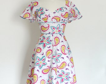 80's Funky Jazz Paisley Tea Dress with Cupid's Bow Neckline & Butterfly Sleeves - Made by Dig For Victory