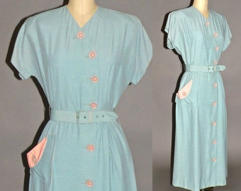1940s Dress, 40s Robin's Egg Blue Dress with Pink Flower Buttons, Medium