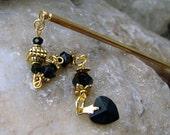 Gold and Black Hair Stick - Slim Line Style with Jet Black Swarovski Crystal Dangle - Fuscienne