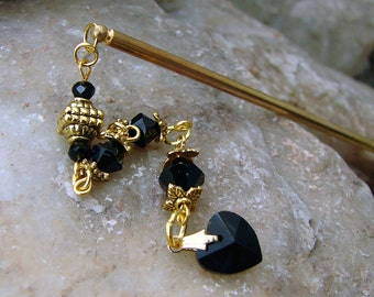 Gold and Black Hair Stick - Slim Line Style with Jet Black Swarovski Crystal Dangle - Fuscienne