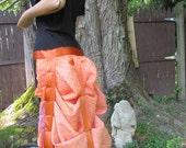 orange and purple blockprint Sari bustle,one size,  steampunk, victorian, bellydance