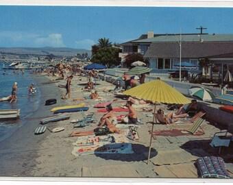 Beach Scene Balboa Island Newport Beach California postcard