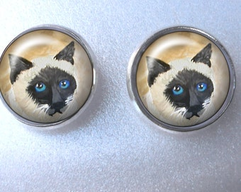 Siamese Cat Post Earrings ~ Cat Jewelry ~ Cat Earrings ~ Siamese Cat Owner ~ Trending Items ~ Girlfriend Gift