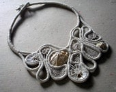 eco jewelry, necklace from cotton cord embroidered with cotton threads and sea shells