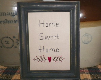 UNFRAMED Primitive Decor Stitchery Picture Home Sweet Home Quote Hand Stitched Wall Folk Art Sampler Saying Decoration Stitched wvluckygirl