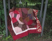 Twin Size Bed Quilt in Reds and Browns, Handmade, Traditional Quilt, Autumn, Fall Colors