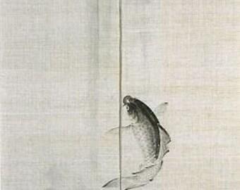 Japanese Handpaint 100% Linen/Hemp Noren-Carp/Koi Fish Reaching for Immortality
