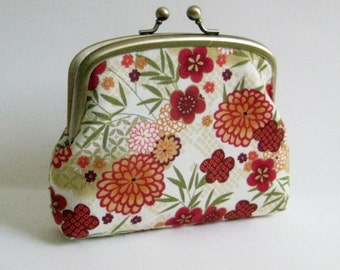 Double Frame Purse with Red, Orange Gold Asian Flowers