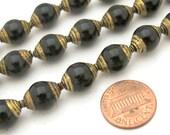 10 BEADS - Ethnic Tibetan brass capped black onyx beads  from Nepal - BD777