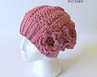 Crochet Slouch Hat PATTERN, Lacy Slouchy Beanie, Toque, Made in Canada