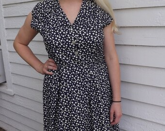 50s Blue Polka Dot Dress Summer Sleeveless Vintage XL Plus