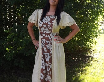 Vintage 70s Dress Hippie Floral Maxi Ivory Natural S XS