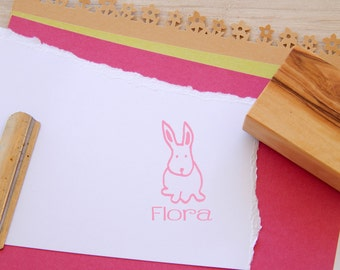Custom Little Bunny Olive Wood Stamp