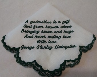 Embroidered Handkerchief to Godmother