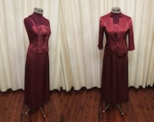 Vintage 2 Piece Burnt Red Burgundy Formal Evening Dress and Jacket Set